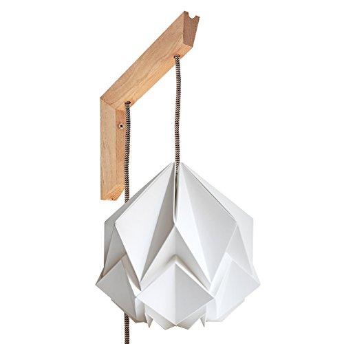 Luminaria de pared Origami - soporte de madera y pantalla blanca