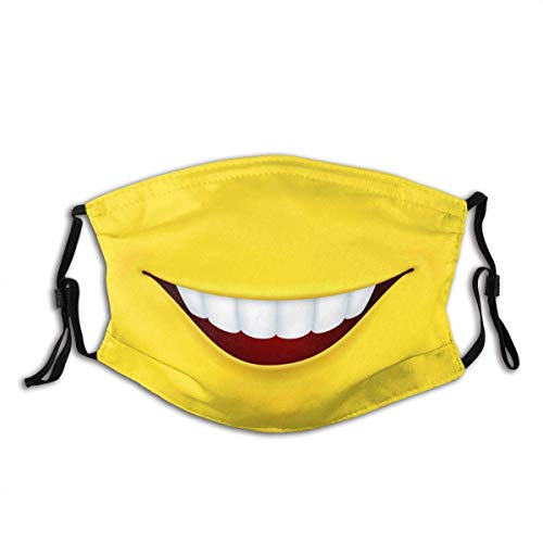 Smiley Mouth Smile Yellow Background Unisex Windproof and Unisex Windproof and Dustproof Mouth Mask,Face Cover with Adjustable Elastic Strap