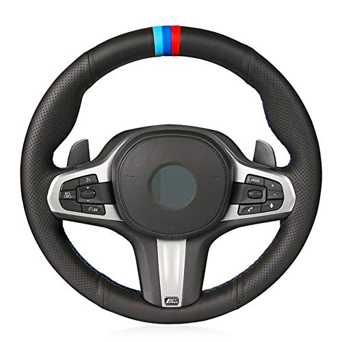 JIRENSHU Schwarzes Leder-Auto-Lenkrad-Abdeckung, für BMW M Sport G30 G31 G32 G20 G21 X3 G01 X4 G02 X5 G05 G14 G15 G16