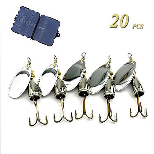 GWSPORT 20 pcs Señuelos Cucharillas de la Pesca Set, Spinner Cebo del...