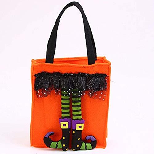 Dynamovolition Lustige Halloween-Geschenktüten Süße Hexenpuppe Candy Bag Kreative Süßes oder Saures-Tasche Goodie-Aufbewahrungshalter für KidsOrange