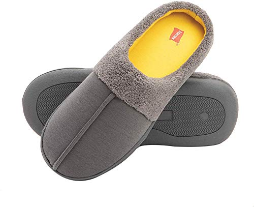 Hanes boys Clog House Shoe With Indoor Outdoor Memory Foam Sole Fresh Iq Odor Protection Slipper, Grey/Yellow, Small Little Kid US