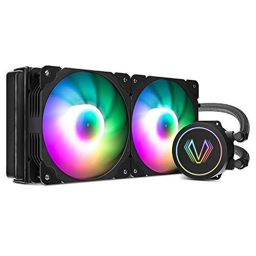 Vetroo V240 Water Cooler 240mm Radiator Intel LGA1200 Ready Black Addressable RGB All-in-one AIO CPU Liquid Cooler for Intel 1150/1151/1156 and AMD AM2/AM3/AM4, 2X 120mm ARGB PWM Fans w/Controller