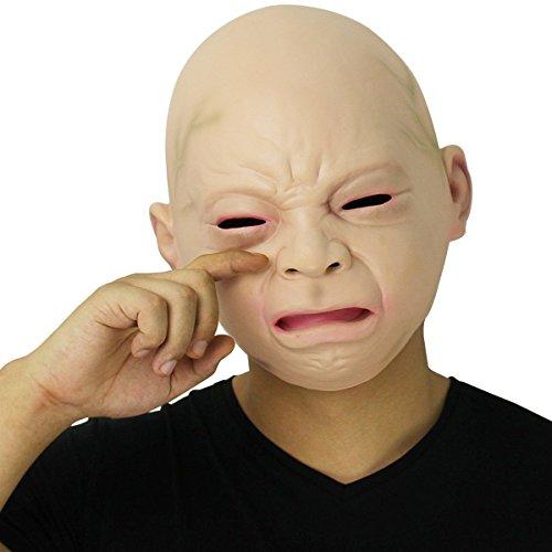 Cusfull Neue Latex Gummi gruselig Schreibaby Maske Gesicht Kopfmaske Halloween Weihnachten Party Dekoration Erwachsene Kostümzubehör