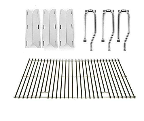Repair Kit for Jenn Air 720-0336, 7200336, 720 0336 BBQ Gas Grill Includes 3 Stainless Burner, 3 Stainless Heat Plate and Stainless Cooking Grates Grill Heat Plates
