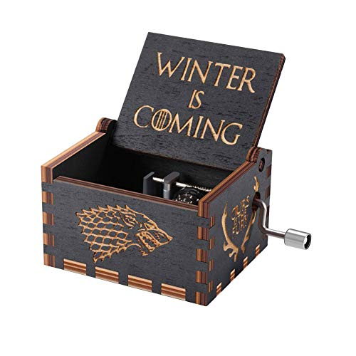 Caja de música Y&S de Star Wars en madera grabada con manivela manual. Caja de música Winter is Coming para regalo infantil, madera, game of thrones