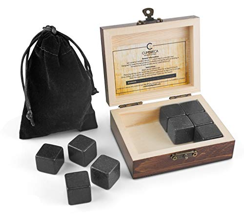 Cumbreca Whiskey Stones, gift set of 9 granite chillers, cooling of your whiskey, wine and other drinks, reusable drinking ice cubes, whiskey rocks with wooden box and protective cover