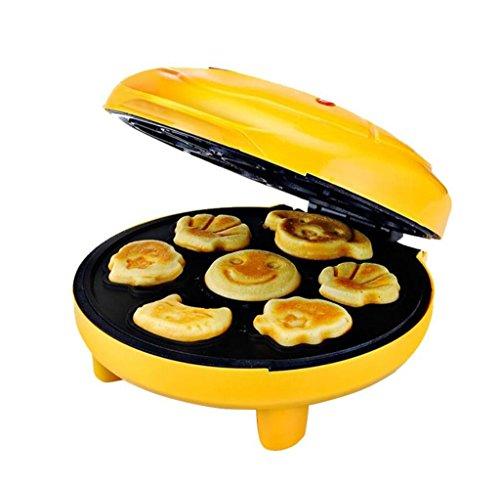 Tostadora,Inicio máquina de pastel automático Máquina de pan de niño de dibujos animados Mini Máquina de doble cara de desayuno de horneado calefacción