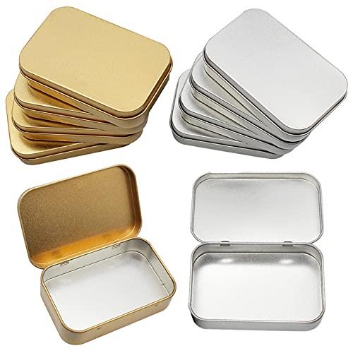 8 Piezas Latas Pequeñas Rectangulares de Metal con Latas de Bisagras, Mini Portátil Caja de Almacenaje Pequeña Caja de Lata Vacía para Abalorios, Monedas, Joyas, Dulces, 95 x 62 x 20 mm