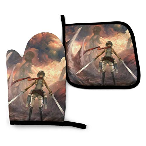 Jiadourun Attack On Titan House Oven Mitts Heat-Resistant Pot Mat Flexible Roaster Gloves Lining and Non-Slip Can Be Used for Kitchen Baking Cooking Grilling 11 x 7.5 pulgadas
