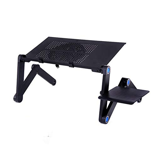 Adjustable Folding Laptop Table Standing Laptop Desk with Mouse Board and Cooling Cooler Fan,Adjustable Height and Angle,Black,Big Fan