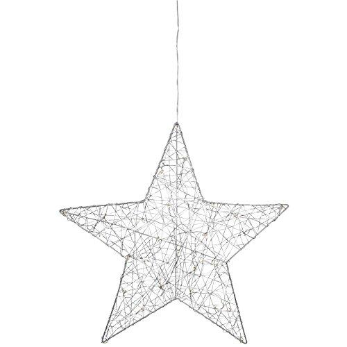 matches21 LED Fensterbild Stern Metall Silber/Fensterdeko Weihnachtsdeko Sterndeko zum Aufhängen/hängend warmweiß beleuchtet Ø 50 cm batteriebetrieben/Timer/Schalter