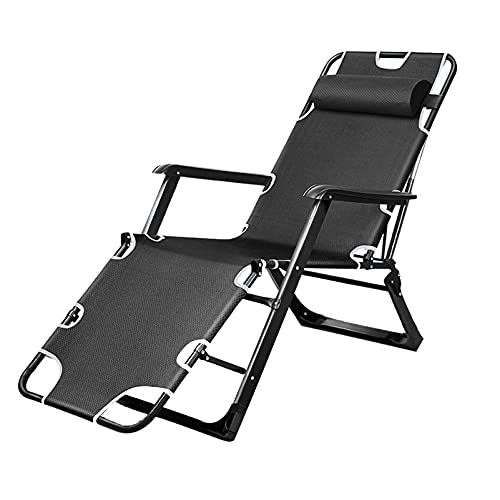 LIYANJJ Zero Gravity Lounge Chair Steel Tube Chair Folding Portable 5-level Adjustable for Office Outdoor Lawn Patio Camping Beach Yard (Black,Gray)