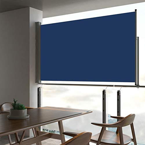 Tidyard Seitenmarkise Ausziehbar Sonnenschutz Sichtschutz Windschutz Seitenrollo Markise Seitenwandmarkise Balkon Garten Terrasse Blau 140 x 300 cm