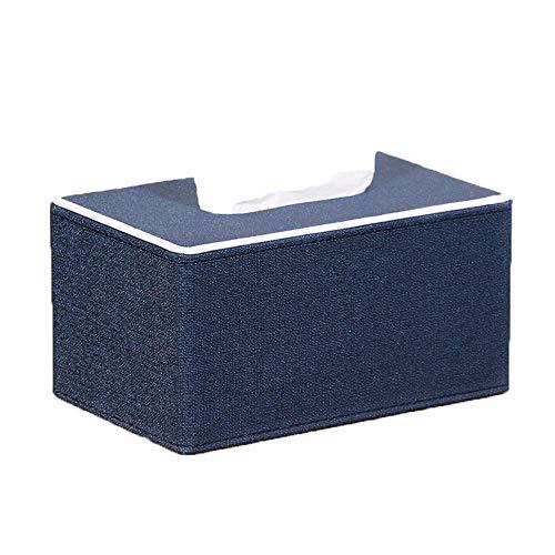 DXX-HR Funda de pañuelos para el hogar de cuero sintético, rectangular, impermeable, para el hogar, catering hotel, coche, 19 x 12 x 10 cm, azul