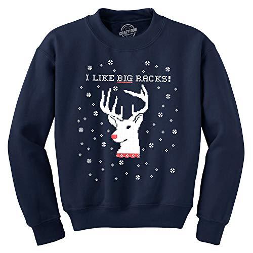Crazy Dog Tshirts - I Like Big Racks Funny Unisex Hunting Ugly Christmas Crew Neck Sweatshirt (Navy) - 4XL - Homme