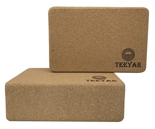 Cork Yoga Blocks(Yoga Brick) – Sturdy 100% Eco-Friendly Natural Cork Anti Microbial Exercise Blocks 9''x6''x3'' for Yoga Pilates Gym Practice, Set of 2, 3 Year Warranty(Cork Blocks Only) by Teeyar