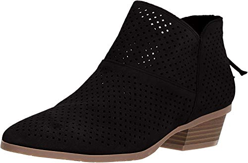 Kenneth Cole REACTION Women's Side Walk Perf Ankle Bootie Boot, Black, 6.5 M US