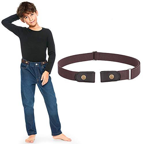 JasGood Schnallefrei Gürtel für Jungen oder Mädchen, Elastischer Unsichtbare Gürtel Ohne Schnalle für Kinder bis zu 60cm, Kaffee