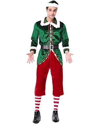 NANXCYR Volwassen Kerst Aankleden Leuke Kerst Groene Elf Kostuum, Heren en Dames Kostuums, Koppels Kerst Groene Elf Set, Toevoegen Feestelijke Sfeer