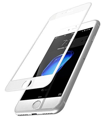 TOZO Für iPhone 7/6/6S 3D Displayschutzfolie Glas [3D Full Frame] Technologie Premium Gehärtet 9H Härte 2.5D PET [Soft Edge Hybrid] Bildschirm 4.7 Weiß