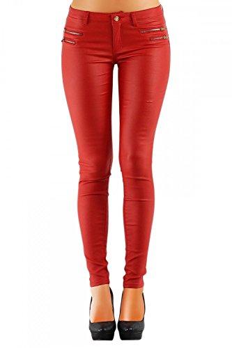Damen Jeans Hose Hüfthose Lederimitat Kunstlederhose Skinny (No:323), Grösse:38, Farbe:Rot
