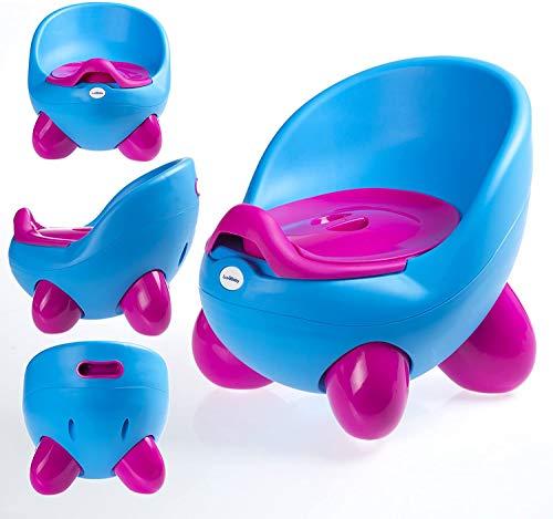 Vasino portatile con vasino interno rimovibile con coperchio, comodo schienale alto, design ergonomico, piedini antiscivolo blu