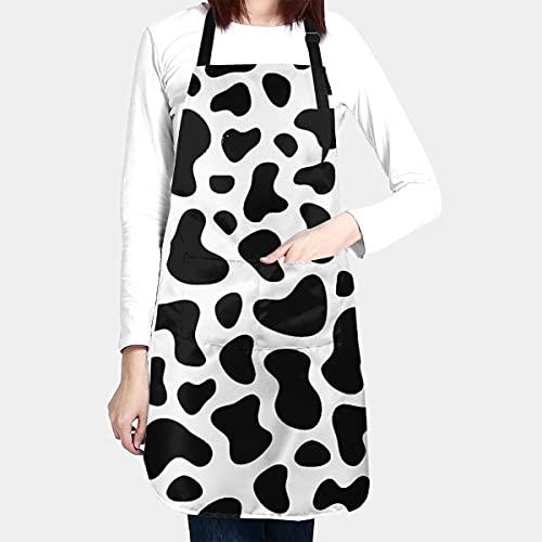 BAIFUMEN - Babero ajustable con diseño de vaca, resistente a la gota de agua, con bolsillos para cocina, delantales de cocina, para mujeres, hombres, chef (83 x 28 pulgadas)