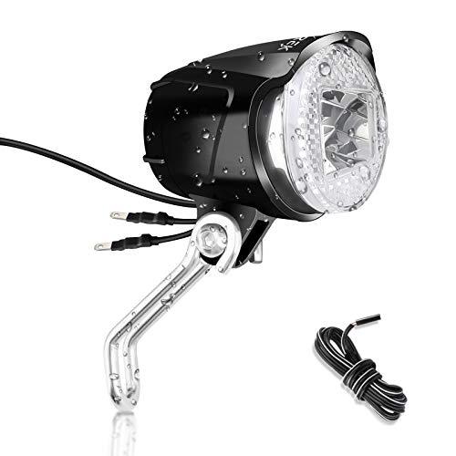 toptrek Fahrradlicht Vorne (K~1119) Retro Fahrradlampe Nabendynamo 12V Fahrrad Scheinwerfer Dynamo Led Fahrradbeleuchtung IPX5 Wasserdicht