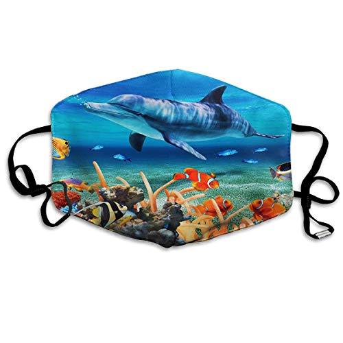 Mond Cover Tropische Vissen Dolfijn Onderwater Wereld Blauw Anti Stofzuiger Oor Loops Herbruikbare Wasbare Gezichtsbescherming Mond Sjaal