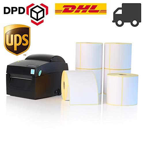 Labelident Starter-Set - Godex DT4X Drucker mit Abreißkante inkl. 6000 Versandetiketten (100x150 mm) für DHL, UPS, DPD, 12 Rollen, 203 dpi - Thermodirekt - 108 mm max. Druckbreite, LAN, seriell, USB