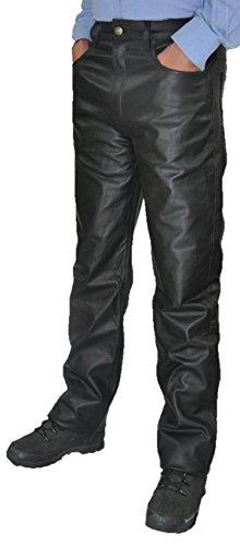 Lederhose lang Herren Damen Fuente Lederjeans- Echtleder in festem Aniline, Lederhose Jeans 501 Schwarz- Motorrad Lederjeans Lederhose übergröße große Größen (W50/L36 (126-128), Schwarz)