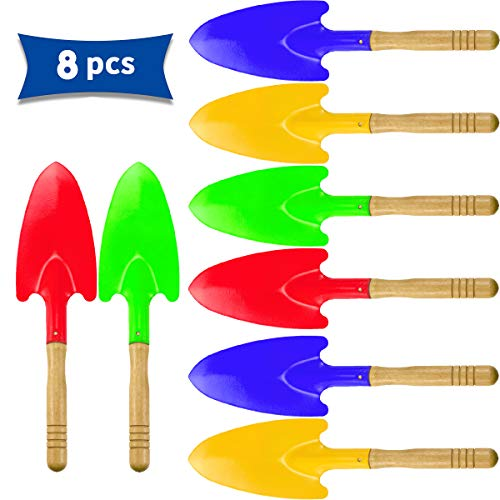 Hslife 8 Pieces 11#039#039 Toy ShovelsMini Shovel Kids Garden ToolsWooden Handle Beach Shovels Garden Shovels