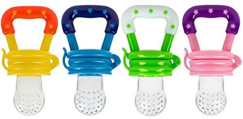 Baby Schnuller Fruchtsauger - Obst und Gemüse Fruchtschnuller Sauger für Babys gesunde Ernährung aus Silikon (blau)
