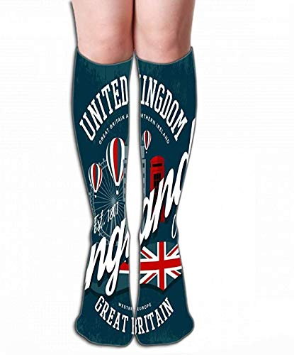 JaONGSADY Women's Girls Novelty Over Calf Knee High Socks Funny Boot Sock Engeland United Kingdom Print Big Ben Clo