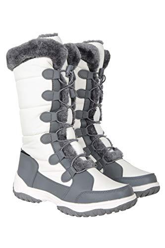 Mountain Warehouse Snowflake hohe Damen-Snowboots - schneedichte Winterschuhe, hoch atmungsaktiv, Gummi-Außensohle, Eva-Fußbett, Isotherm - für Skiurlaub, Spazieren Weiß 39 EU