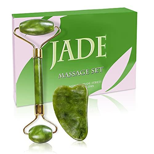 2021 Versione NuovaRullo di giada 100% naturale Massaggiatore per il viso con pietra di gua sha per il cambiamento della vostra pelle, Jade Roller Facial Skincare natural Massager anti-età