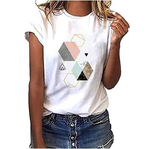 Damen Tshirt Kurzarm Esprit Oberteile Sommer Drucken Tee Tops Casual Basic Shirts Mode Rundhals Teenager Mädchen Frauen Hemd Bluse Tunic Tunika Fitness Sport Tops (G, M)