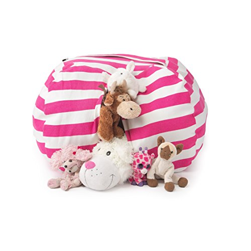"T-Bugs Best Stuffed Animal Storage Bean Bag Chair, Premium Cotton Canvas Toy Organizer for Kids Bedroom, Perfect Storage Solution for Plush Toys, Blankets, Towels & Clothes (27"", Pink/White Stripes)"