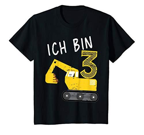 Kinder Bagger Junge 3. Geburtstag T-Shirt 3 Jahre Baustelle