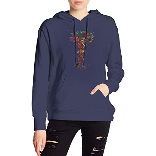 Love Lambert Women's DNA Tree of Life Printing Fashion Long Sleeve Hoodie, Casual Sweatshirt with Hat Women's Sweater Navy