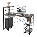 HOMECHO Industrial Computer Desk with Storage Shelves, 52' Writing Desk with Bookshelf, Simple Modern Study Desk Laptop Table Workstation for Home Office, Easy Assembly, Dark Brown