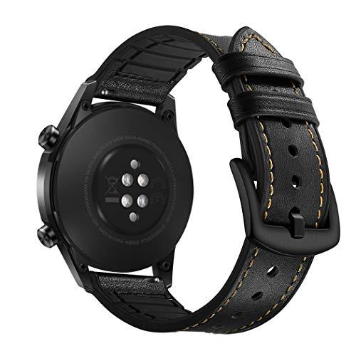YOOSIDE für Huawei Watch GT 2 46mm Leder Armband, 22mm Echtleder+Silikon Ersatzarmband Uhrenarmband für Samsung Galaxy Watch 46mm/Gear S3/Fossil Gen 5, Schwarz