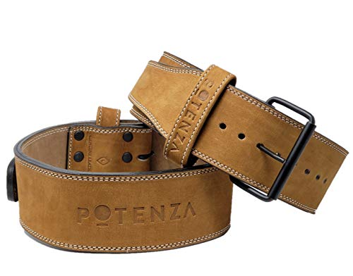 "Potenza Fitness Classic Powerlifting Belt | 10 mm | Powerlifting, Strongman, Bodybuilding | Tan Nubuck Outer | Single Prong | Back Support (Large: 30"" - 39"" (at Belly Button))"