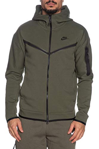 Nike Felpa da uomo Tech Full Zip Verde (Twilight Marsh/Black) XS
