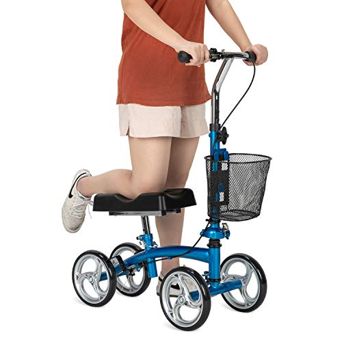 OasisSpace Small Size Foldable Knee Scooter Walker for Foot Injuries Ankles Surgery (Blue)