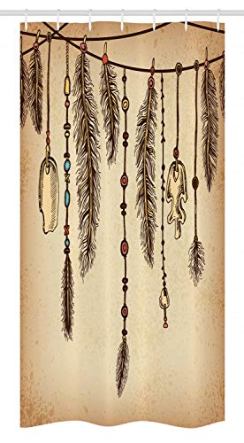 """Ambesonne Tribal Stall Shower Curtain, Bohemian Hair Accessories Bird Feathers Beads on String Sketch Digital Print, Fabric Bathroom Decor Set with Hooks, 36"""" X 72"""", Camel Brown"""