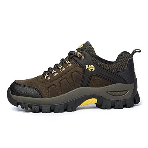 GKXAZ Cuero de Gamuza de excursión los Zapatos al Aire Libre Hombres Mujeres Impermeable y Transpirable Antideslizante Deportes Escalada Trekking Zapatos Masculinos Caza Botas