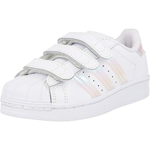 adidas Originals Unisex-Child Superstar CF Sneaker, Footwear White/Footwear White/Footwear White, 34 EU