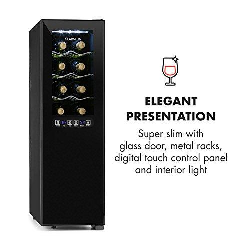 KLARSTEIN Bellevin - cave à vin, réfrigérateur à boissons, 45 litres, 16 bouteilles, 2 zones, double isolation, 6 tiroirs en métal, écran LCD, section de commande tactile, silencieux - noir